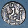 Coins A. Postumius  Albinus, L. Caecilius Metellus et C. Poblicius Malleolus (vers 96 av. J-C). Denier
