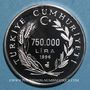 Coins Turquie. 750.000 lira 1996. (PTL 925/1000. 31,47 g)