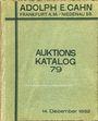 Livres d'occasion Cahn A., Francfort, vente aux enchères n° 79, du 14.12.1932.