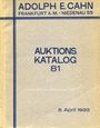 Livres d'occasion Cahn A., Francfort, vente aux enchères n° 81, du 05.04.1933