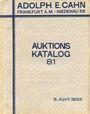 Livres d'occasion Cahn A., Francfort. Vente aux enchères n° 81, du 05.04.1933