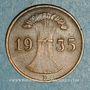 Monnaies Allemagne. République de Weimar. 1 reichspfennig 1935 D