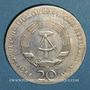 Monnaies République Démocratique allemande. 20 mark 1966. 250e anniversaire de la mort de Leibnitz