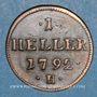 Monnaies Allemagne. Possessions autrichiennes. Joseph II (1780-1790). 1 heller 1792 H. Hall