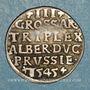 Monnaies Duché de Prusse. Albrecht, margrave de Brandebourg (1525-1569). 3 groschen 1545