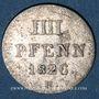 Monnaies Hanovre. Georges IV (1820-1830). 4 pfennig (= 1/2 mariengroschen) 1826 B