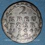 Monnaies Hesse-Darmstadt. Louis VIII (1739-1768). 2 kreuzer 1744 AK