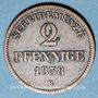 Monnaies Oldenbourg. Nicolas Frédéric Pierre (1853-1900). 2 pfennig 1858B