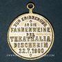 Monnaies Alsace. Bischheim. Bénédiction du drapeau de l'association Théatralia. 1900. Médaille laiton argenté