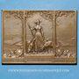 Monnaies Alsace. Mulhouse. Centenaire de la fabrique de drap Dollfus & Noack. 1911. Plaquette bronze 50x70 mm