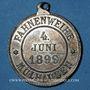 Monnaies Alsace. Mulhouse. Chorale Germania. Bénédiction du drapeau. 1899. Zinc nickelé