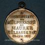 Monnaies Alsace. Mulhouse. Consécration du drapeau de la Caisse de Secours des Maçons. 1893. Laiton argenté