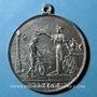 Monnaies Alsace. Mulhouse. Course cycliste de 100km. 1893. Médaille en étain. 42,6 mm. Avec sa bélière