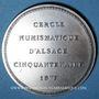 Monnaies Alsace. Strasbourg. Cinquantenaire du Cercle Numismatique d'Alsace. 1975. Médaille argent. 42 mm