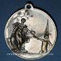 Monnaies Alsace. Strasbourg. Tournoi de gymnastique du Neudorf. 1901. Médaille laiton nickelé. 33,5 mm
