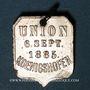 Monnaies Alsace. Strasbourg. Union Koenigshofen. 1885. Insigne laiton nickelé.18 x 27 mm. Avec son anneau