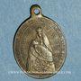 Monnaies Thierenbach. Souvenir de Notre Dame (19e - début 20e). Laiton. Ovale, avec œillet. 8,82 x 26,76 mm
