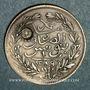 Monnaies Abdoul Hamid II avec Mohammed el-Sadok, bey (1293-1299H). 1 piastre 1289H, contremarqué
