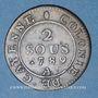 Monnaies Guyane. Louis XVI (1774-1793). 2 sous, type 2, 1789A. Frappe monnaie décalée à droite