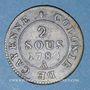 Monnaies Guyane. Louis XVI (1774-1793). 2 sous, type 2, 1789A. Frappe monnaie décalée à gauche