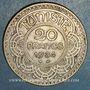 Monnaies Tunisie. Ahmed II, bey (1348-1361H = 1929-1942). 20 francs 1353H (1934)