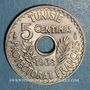 Monnaies Tunisie. Ahmed II, bey (1348-1361H = 1929-1942). 5 centimes 1938