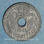 Monnaies Tunisie. Mohammed al -Amine, bey (1362-76H). 10 centimes 1945