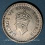 Monnaies Indes Anglaises. Georges VI (1936-1952). 1/2 roupie 1944(B), point. Bombay