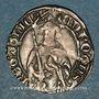 Monnaies Aquitaine. Edouard IV le Prince Noir (1362-1372). Hardi. La Rochelle. Variété inédite
