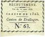 Monnaies Canton de Drulingen (67, Alsace). Classe de 1823. Tirage au sort N° 63