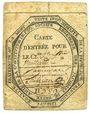 Monnaies Sète. Club des Jacobins. Carte d'entrée n° 589, au nom de Vaillard