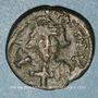Monnaies Empire byzantin. Constant II (641-668). 1/2 follis.Carthage 647-659. Refrappé /ancienne monnaie