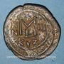 Monnaies Empire byzantin. Héraclius (610-641). Follis. Cyzique, 2e officine, 612-613. Surfrappé...