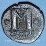 Monnaies Empire byzantin. Justin I (518-527). Follis. Constantinople, 5e officine, 518-527