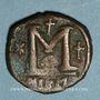 Monnaies Empire byzantin. Justin I (518-527). Follis. Nicomédie, 1ère officine, 518-527