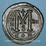 Monnaies Empire byzantin. Justinien I (527-565). Follis. Constantinople, 2e officine, 538-539