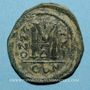 Monnaies Empire byzantin. Justinien I (527-565). Follis. Constantinople, 4e officine. 547-548
