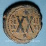 Monnaies Empire byzantin. Maurice Tibère (582-602). 1/2 follis. Théopoulis (Antioche), 589-590