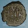 Monnaies Empire byzantin. Maurice Tibère (582-602). Follis. Nicomédie, 1ère officine. 588-589