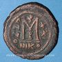 Monnaies Empire byzantin. Maurice Tibère (582-602). Follis. Nicomédie, 2e officine (602)