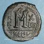 Monnaies Empire byzantin. Maurice Tibère (582-602). Follis. Théopoulis. 3e officine, 597-598