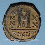 Monnaies Empire byzantin. Maurice Tibère (582-602). Follis. Théopoulis (Antioche), 4e officine, 601-602