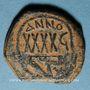 Monnaies Empire byzantin. Phocas (602-610). Follis surfrappé sur une monnaie de Maurice Tibère. Cyzique