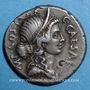 Monnaies Jules César (100-44 av. J-C). Denier émis par A. Alliénus, Sicile, 47 av. J-C. R/: Trinacus. R ! R !