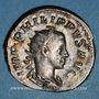 Monnaies Philippe II, auguste (247-249). Antoninien. Rome, 247. R/: Philippe père et son fils assis à gauche