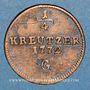 Monnaies Autriche. Burgau. Marie-Thérèse (1740-1780). 1/4 kreuzer 1772G. Günzbourg