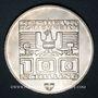 Monnaies Autriche. République. 100 schilling (1975). Immeuble et anneaux olympiques - Ecusson