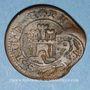 Monnaies Espagne. Philippe IV (1621-1665). 6 maravedis 1641-1643, contremarqué 14 maravedis 1603. Ségovie