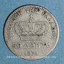 Monnaies Grèce. Georges I (1863-1913). 50 lepta 1874