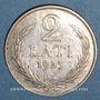 Monnaies Lettonie. République. 2 lati 1925.